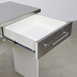 SmartII スマート2 ステンレスシリーズ 間仕切りオープンキッチンカウンター 幅90.5cm高さ100cm 引き出し奥のものも取り出しやすく、見やすい