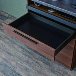 Boulder/ボルダー 石目調天板キッチンシリーズ カウンター 幅120cm 奥行45cm 引き出し内部はシックなブラック調で仕上げ、美しさと収納物に配慮しました。