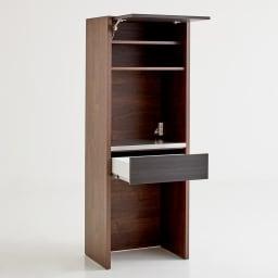Milovy/ミロヴィ キッチンボード ダストボード 幅66cm (イ)ブラック(木目)×ブラウン