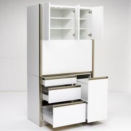 Maquina/マキナ ダストダイニングボード・キッチンボード 幅107cm ホワイト 目隠しだけでなく、たっぷりとした収納ボリューム・様々な収納機能もキッチン周りのお片付けの強い味方です。
