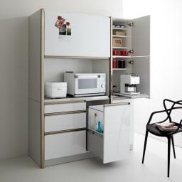 Maquina/マキナ ダストダイニングボード・キッチンボード 幅107cm ダストボックスも収納できるので、まるでモデルルームやインテリア雑誌から抜け出したような生活感を感じさせないキッチンに。