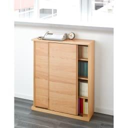 Ordre/オルドル 幅・高さ1cm単位オーダー 薄型カウンター下収納庫引き戸 [オーク/幅80~160cm 高さ60~95cm] 窓下にピッタリに設置し、薄型ロータイプの書棚・本棚としてもご使用いただけます。