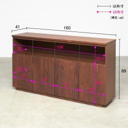 LEDライト付きサイドボード 幅160cm 詳細図