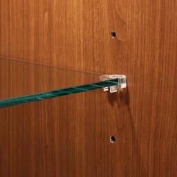 Sorrento/ソレント リビングキャビネット 幅76高さ183cm ガラス扉 LED照明付き 2枚のガラス棚板は高さ調整できます。