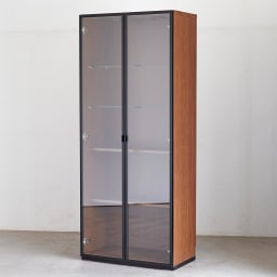 Sorrento/ソレント リビングキャビネット 幅76高さ183cm ガラス扉 LED照明付き キャビネット 幅76高さ183cm ガラス扉LED