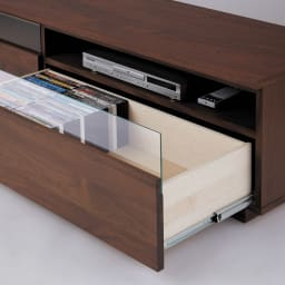 ウォルナット天然木テレビ台 幅150cm 引き出しにはDVDやCDがすき間なく収納できます。
