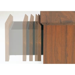 木目の風合いに包まれた隠しガラスグロッセウォルナットTV台シリーズ 扉キャビネット 幅50cm 閉まる直前にクッションがきいて静かに閉まります。