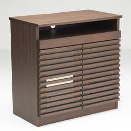 ウォルナット格子リビング収納シリーズ PCデスク 幅80cm 扉を閉め棚板状態