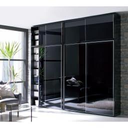 Evan(エヴァン) スライドシェルフ ハイタイプ本棚 幅150cm [コーディネート例]ブラック 左からハイタイプ幅120cm+上置き(高さ60cm~)、ハイタイプ幅150cm+上置き(高さ60cm~)の組み合わせ