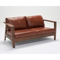 Green/グリーン ウォルナット天然木 木フレームレザーソファ ラブ・2人掛けソファ 幅158cm 天然木フレームのソファはヴィンテージスタイルの家具やお部屋インテリアにマッチします