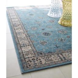 トルコ製 Lafarge/ラファージュ ウィルトン織ラグ ライトブルー ※写真は約160×230cmタイプです。