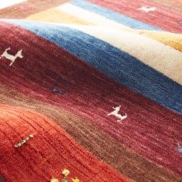 Gabbeh/ギャベ インド製 ウールマット 【素材アップ】カラフルボーダー・アイボリー額縁・ブルー額縁・ブラウン額縁・グレーミックス・ブルーブラックの素材感です