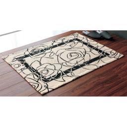 イタリア製 Camelia カメリア ゴブラン織キッチンマット [色見本]玄関マットとしても。 アイボリー ※写真は65×90cmタイプです。