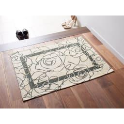 イタリア製 Camelia カメリア ゴブラン織キッチンマット [色見本]アイボリーグリーン※写真は65×90cmタイプです。