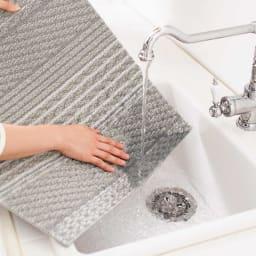 ニット柄タイルマット 1枚単位で洗えます 汚れた部分を外して、ご家庭で手洗い可能。