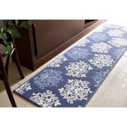 DressLeaf/ドレスリーフ キッチンマット ブルー ※写真は約50×180cmタイプです。