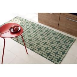 イタリア製マルチクロス Rita/リタ キッチンマット約65×120・180・240cm(3サイズ) グリーン ※写真は約80×180cmです。