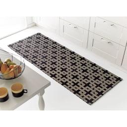 イタリア製マルチクロス Rita/リタ キッチンマット約65×120・180・240cm(3サイズ) ブラック(WEB限定) ※写真は約65×180cmです。