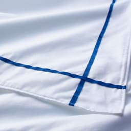 ホテル仕様超長綿サテンカバーリング Ciel/シエル イニシャル刺繍入りピローケース 1枚 [生地アップ]ブルー