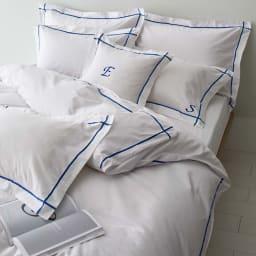 ホテル仕様超長綿サテンカバーリング Ciel/シエル 掛けカバー ブルー ※お届けは掛けカバーのみです。