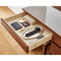 天然木 スライドワードローブ ドレッサー(椅子付き) メイク道具をまとめて収納、引き出し有効内寸:幅49.5奥行35.5高さ5cm