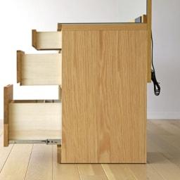天然木 スライドワードローブ ドレッサー(椅子付き) 側板にもオーク天然木の化粧合板を使用。
