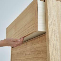 Sarasa/サラサ桐チェスト 幅75cm・4段(高さ115cm) 引き出し下部に手をかけて開閉します。