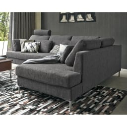 Slimleg(スリムレッグ)  カバーリングソファ コーナーソファセット座って右 ダークグレー リビングの主役にふさわしいシンプルモダンなデザインのソファ。 ※写真はソファセット座って左タイプです。