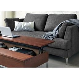 Slimleg(スリムレッグ)  カバーリングソファ ラブソファ(2人掛け) ダークグレー リビングの主役にふさわしいシンプルモダンなデザインのソファ。