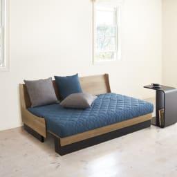 Licol/リコル ソファベッド 幅160 [国産] (ア) ナチュラル×ブルー ベッド時