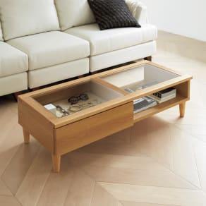 Afeeche/アフィーチェ アクセサリー収納付きローテーブル 幅105cm 写真