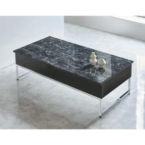 大理石調リフトアップテーブル 写真