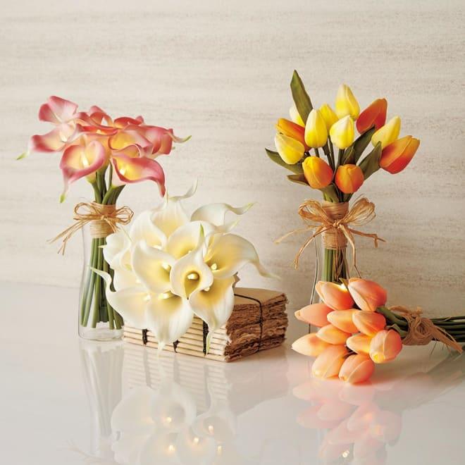 ブーケ LEDライト ガラスベース付 本物の花のような美しさを宿したLEDライト