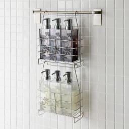 ステンレス製シャンプーバスケット お得な2個セット シャンプーを使用しないときは、吊り下げて省スペースにボトルを収納できます。