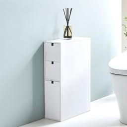 スリム 引き出し トイレ収納庫 3段 幅16cmでたっぷり収納できる、便利なプラスワン収納です。