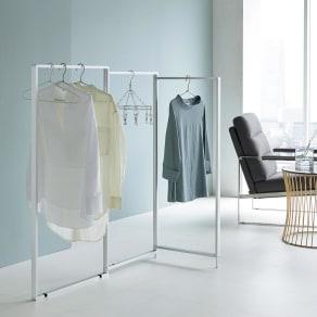 アルミ製 薄型ランドリースタンド3連 (室内 屏風型物干し) 写真