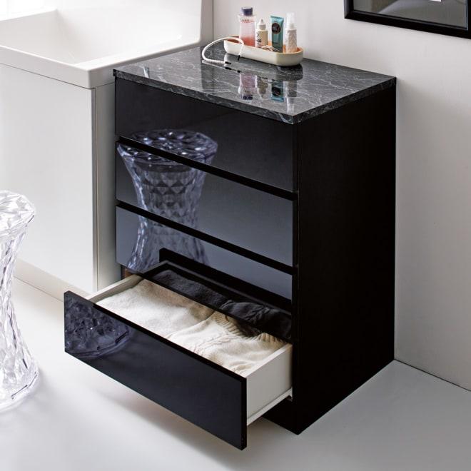 Marblenome/マーブルノーム サニタリーチェスト 幅60奥行45cm (イ)ブラック 奥行45cmの大容量サイズで洗面所周りの衣類やタオルをひとまとめに収納できます
