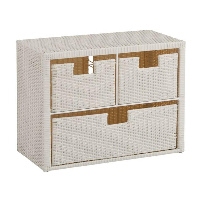 Nelia/ネリア ラタン調 ドレッシングルームベンチ 引き出し 幅60cm (ア)ホワイト 幅60cm引き出しタイプ。お風呂上りに腰掛けるのに便利なドレッシングルームベンチ。引き出しには化粧品やタオルなどストック品を収納するのに便利です。