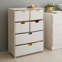 Nelia/ネリア ラタン調サニタリーチェスト4段 (ア)ホワイト 清潔感のある色合いです。