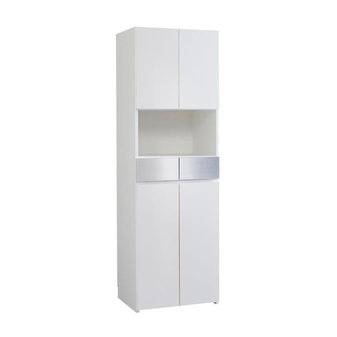 Maryam/マリアム ハウスキーピング 段違い棚収納庫 幅57.5 (ア)ホワイト 清潔感のある色合いがサニタリールームを明るい空間に。