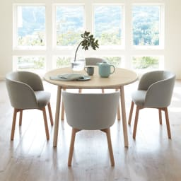 Ridge/リッジ ダイニングテーブル 天然木丸テーブル 直径110cm ※本ページではテーブルのみの販売です。 うっすらホワイトのラッカー塗装仕上げ。ナチュラルでモダンな北欧スタイルダイニングテーブルです。