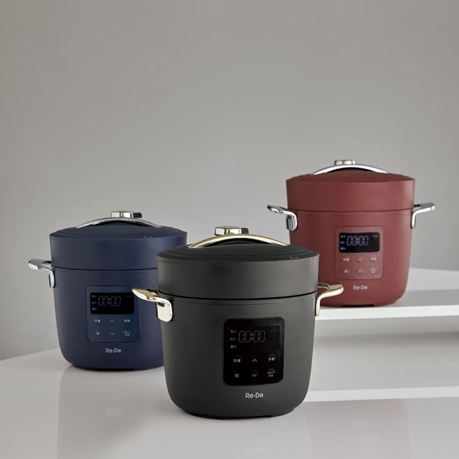 Re・De Pot/リデポット 電気圧力鍋2L 左から(ウ)ネイビー、(ア)ブラック、(イ)レッド