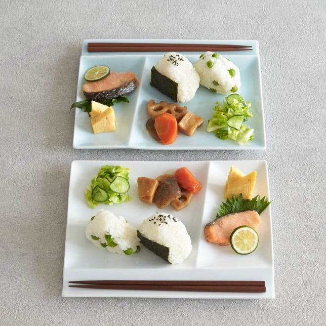 お箸が置けるパレット皿 幅24cm 2枚組  ホワイト、ブルー