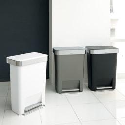 simplehuman/シンプルヒューマン ゴミ袋ホルダー付ペダルペール 左からホワイト、グレー、ブラック