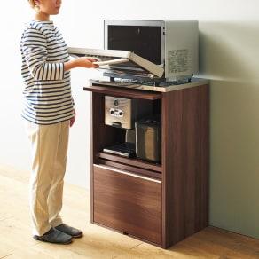 Mallory/マロリー ステンレストップ隠せる家電収納キッチンカウンター 幅59.5cm高さ92.5cm 写真