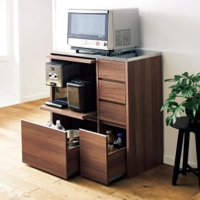 Mallory/マロリー ステンレストップ隠せる家電収納キッチンカウンター 幅90cm高さ92.5cm 写真
