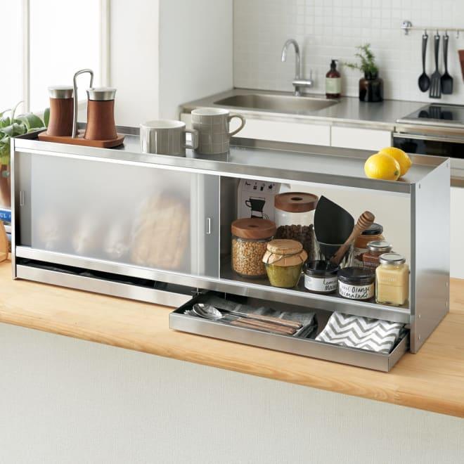 ステンレス製カウンター上収納 幅90奥行24cm 引き出し付き キッチンカウンターの上に手軽に収納が作れます。