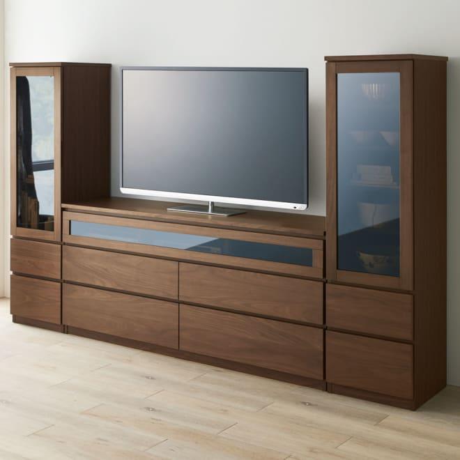 Volga/ヴォルガ ウォルナットシリーズ テレビ台 幅160cm [コーディネート例]幅160テレビ台、左右兼用キャビネットX2の組み合わせ例です。※お届けは幅160テレビ台となります。