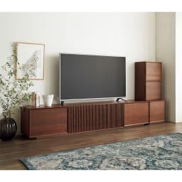 E&W/イーアンドダブリュ 天然木テレビボード テレビボード 幅210.5 (ア)ウォルナット コーディネート例 ※お届けは「テレビボード 幅210.5」です。