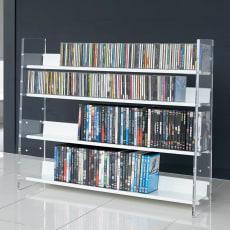 クリアーアクリルシリーズ CD・DVDラック 幅100cm